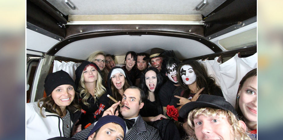 halloween party inside the photo booth bus